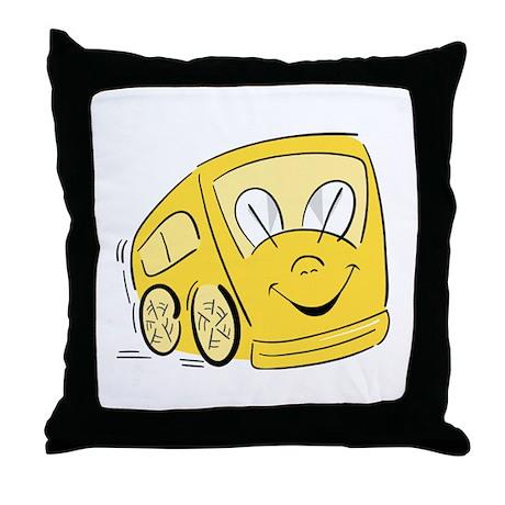 YELLOW HAPPY BUS Throw Pillow