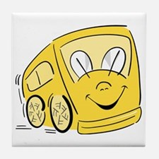 YELLOW HAPPY BUS Tile Coaster