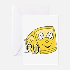 YELLOW HAPPY BUS Greeting Cards (Pk of 10)