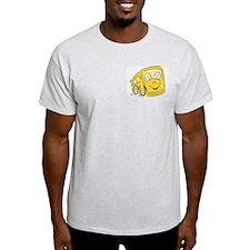 YELLOW HAPPY BUS Ash Grey T-Shirt