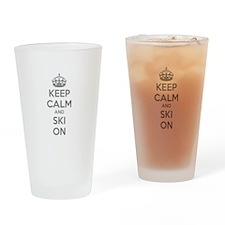 Keep calm and ski on Drinking Glass