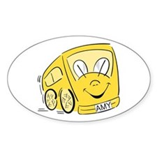 AMY'S YELLOW BUS Oval Decal