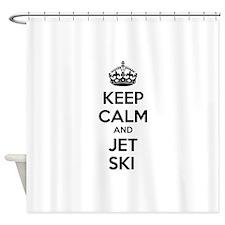 Keep calm and ski on Shower Curtain