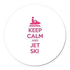 Keep calm and jet ski Round Car Magnet