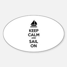 Keep calm and sail on Sticker (Oval)