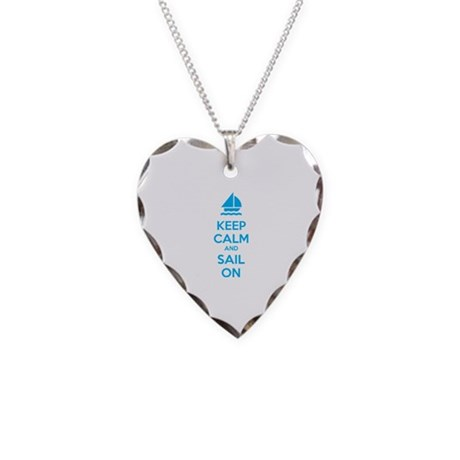 Keep calm and sail on Necklace Heart Charm