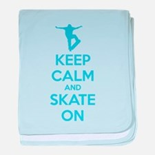 Keep calm and skate on baby blanket