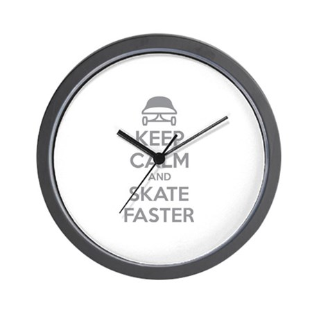 Keep calm and skate faster Wall Clock
