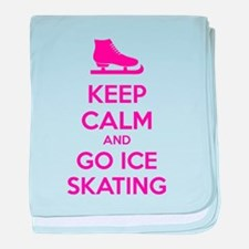 Keep calm and go ice skating baby blanket