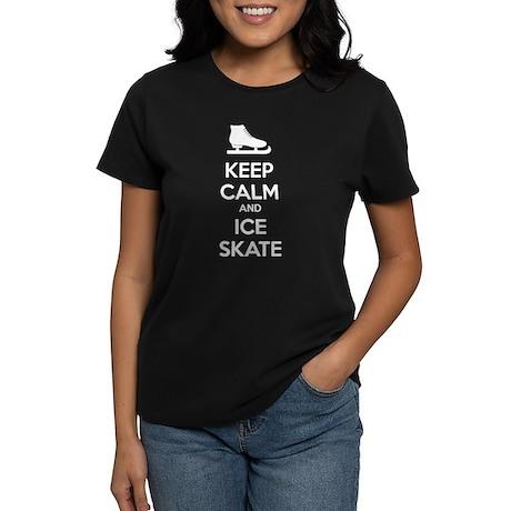 Keep calm and ice skate Women's Dark T-Shirt
