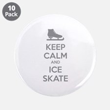 "Keep calm and ice skate 3.5"" Button (10 pack)"