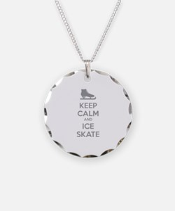 Keep calm and ice skate Necklace Circle Charm
