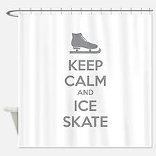Keep calm and ice skate Shower Curtain