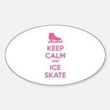 Keep calm and ice skate Sticker (Oval)