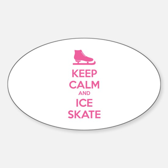 Keep calm and ice skate Sticker (Oval)