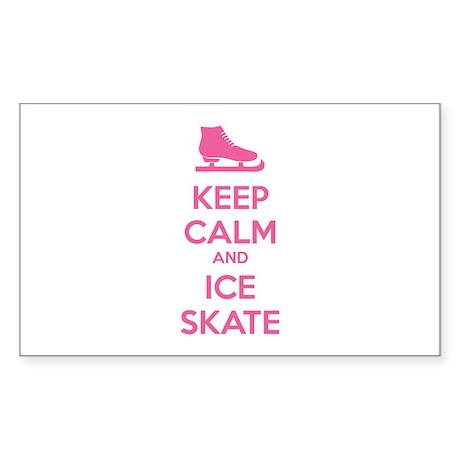 Keep calm and ice skate Sticker (Rectangle 10 pk)