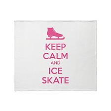 Keep calm and ice skate Throw Blanket