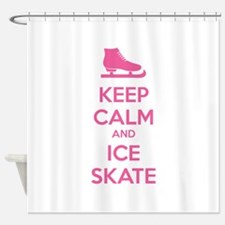 Keep calm and ice skate Shower Curtain