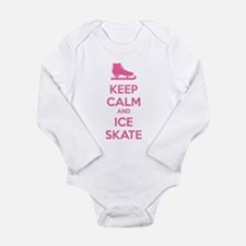 Keep calm and ice skate Long Sleeve Infant Bodysui