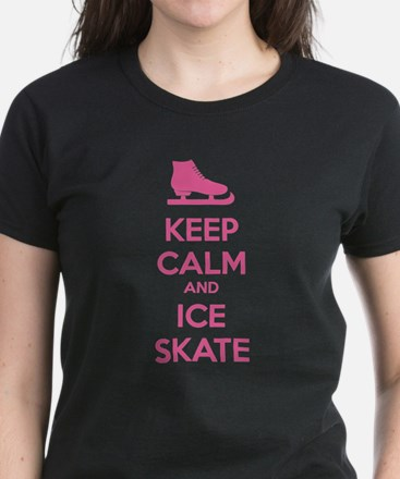 Keep calm and ice skate Women's Dark T-Shirt