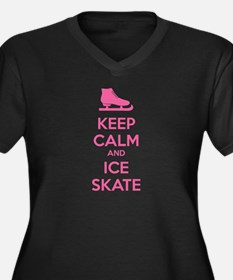 Keep calm and ice skate Women's Plus Size V-Neck D