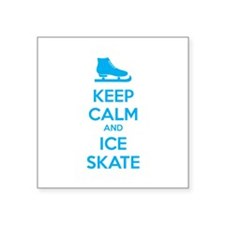 "Keep calm and ice skate Square Sticker 3"" x 3"""