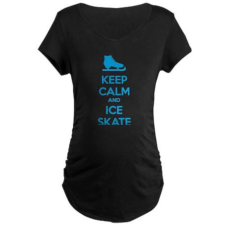 Keep calm and ice skate Maternity Dark T-Shirt