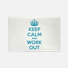 Keep calm and work out Rectangle Magnet (10 pack)