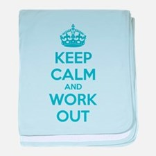 Keep calm and work out baby blanket