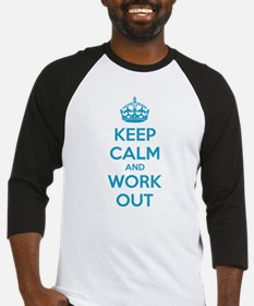 Keep calm and work out Baseball Jersey