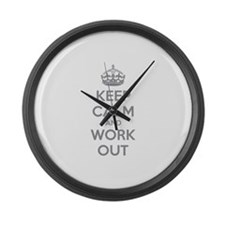 Keep calm and work out Large Wall Clock