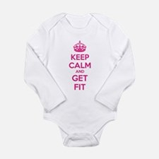 Keep calm and get fit Long Sleeve Infant Bodysuit