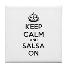 Keep calm and salsa on Tile Coaster