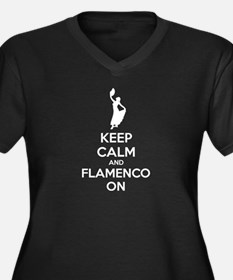 Keep calm and flamenco on Women's Plus Size V-Neck