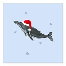 Santa - Humpback Whale Square Car Magnet 3