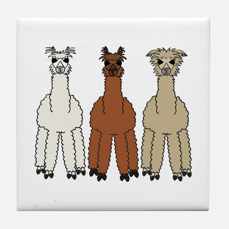 Alpaca (no text) Tile Coaster