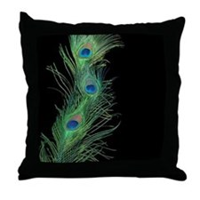 Black and Green Peacock Throw Pillow