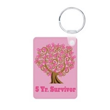 5 Year Survivor Breast Cancer Ribbon Keychains