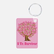 5 Year Survivor Breast Cancer Ribbon Keychains