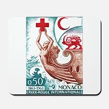 1963 Monaco International Red Cross Stamp Mousepad