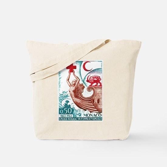 1963 Monaco International Red Cross Stamp Tote Bag