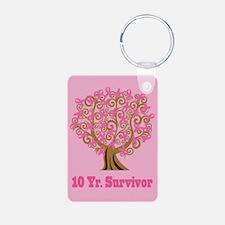 Breast Cancer 10 Year Survivor Keychains