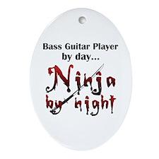 Bass Guitar Ninja Ornament (Oval)
