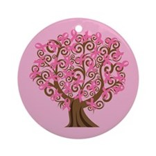 Breast Cancer Pink Ribbon Tree Gift Ornament (Roun