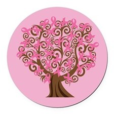 Breast Cancer Pink Ribbon Tree Gift Round Car Magn