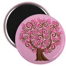 "Breast Cancer Pink Ribbon Tree Gift 2.25"" Mag"