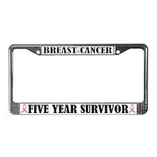 Five Yr Breast Cancer Survivor License Plate Frame