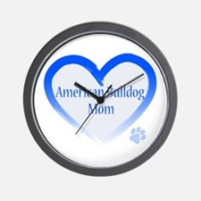 American Bulldog Mom Blue Heart Wall Clock