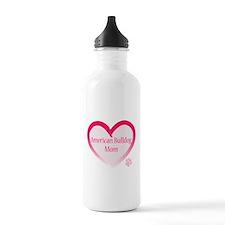 American Bulldog Mom Pink Heart Water Bottle