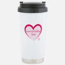 American Bulldog Mom Pink Heart Travel Mug